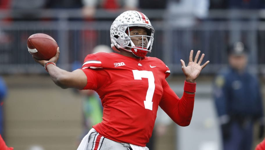 COLUMBUS, OH - NOVEMBER 24: Dwayne Haskins #7 of the Ohio State Buckeyes throws a pass during the game against the Michigan Wolverines at Ohio Stadium on November 24, 2018 in Columbus, Ohio. Ohio State won 62-39. (Photo by Joe Robbins/Getty Images)
