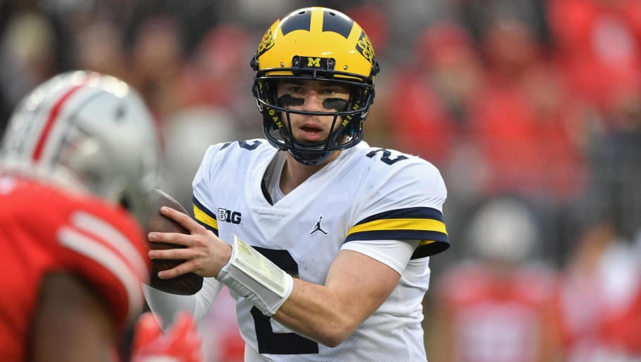 COLUMBUS, OH - NOVEMBER 24:  Quarterback Shea Patterson #2 of the Michigan Wolverines passes against the Ohio State Buckeyes at Ohio Stadium on November 24, 2018 in Columbus, Ohio. Ohio State defeated Michigan 62-39.  (Photo by Jamie Sabau/Getty Images)