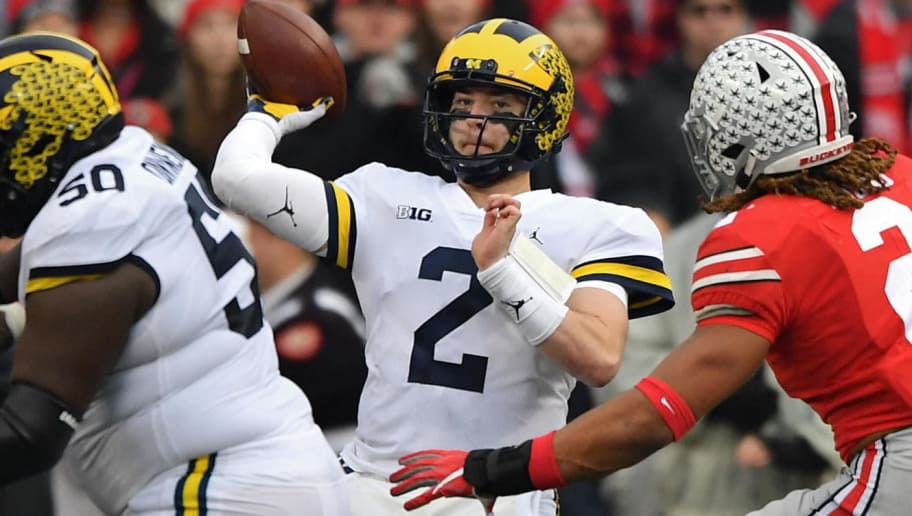 COLUMBUS, OH - NOVEMBER 24:  Quarterback Shea Patterson #2 of the Michigan Wolverines throws a pass in the third quarter against the Ohio State Buckeyes at Ohio Stadium on November 24, 2018 in Columbus, Ohio. Ohio State defeated Michigan 62-39.  (Photo by Jamie Sabau/Getty Images)