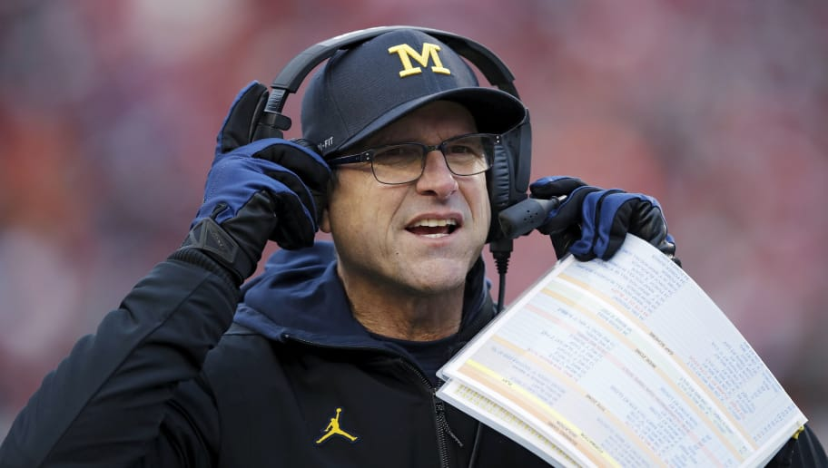 MADISON, WI - NOVEMBER 18: Head coach Jim Harbaugh of the Michigan Wolverines looks on during a game against the Wisconsin Badgers at Camp Randall Stadium on November 18, 2017 in Madison, Wisconsin. Wisconsin won 24-10. (Photo by Joe Robbins/Getty Images)