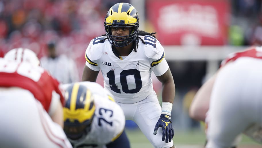 MADISON, WI - NOVEMBER 18: Devin Bush #10 of the Michigan Wolverines in action during a game against the Wisconsin Badgers at Camp Randall Stadium on November 18, 2017 in Madison, Wisconsin. Wisconsin won 24-10. (Photo by Joe Robbins/Getty Images)