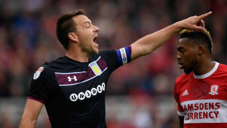 MIDDLESBROUGH, ENGLAND - MAY 12:  Villa captain John Terry reacts during the Sky Bet Championship Play Off Semi Final First Leg match between Middlesbrough and Aston Villa at Riverside Stadium on May 12, 2018 in Middlesbrough, England.  (Photo by Stu Forster/Getty Images)