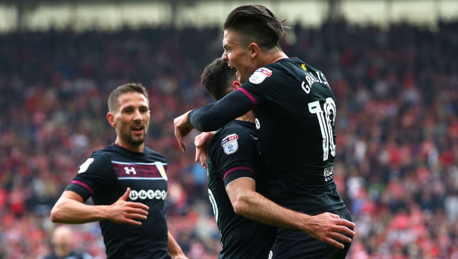 MIDDLESBROUGH, ENGLAND - MAY 12:  Conor Hourihane and Jack Grealish of Aston Villa celebrate after their side score their first goal during the Sky Bet Championship Play Off Semi Final First Leg match between Middlesbrough and Aston Villa at Riverside Stadium on May 12, 2018 in Middlesbrough, England.  (Photo by Alex Livesey/Getty Images)