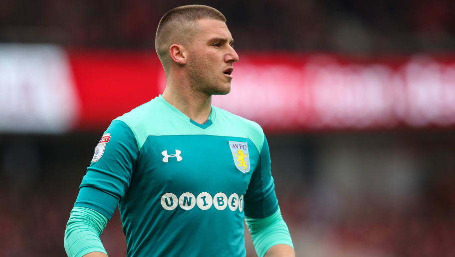 MIDDLESBROUGH, ENGLAND - MAY 12: Sam Johnstone of Aston Villa during the Sky Bet Championship Play Off Semi Final First Leg match between Middlesbrough and Aston Villa at Riverside Stadium on May 12, 2018 in Middlesbrough, England. (Photo by Robbie Jay Barratt - AMA/Getty Images)