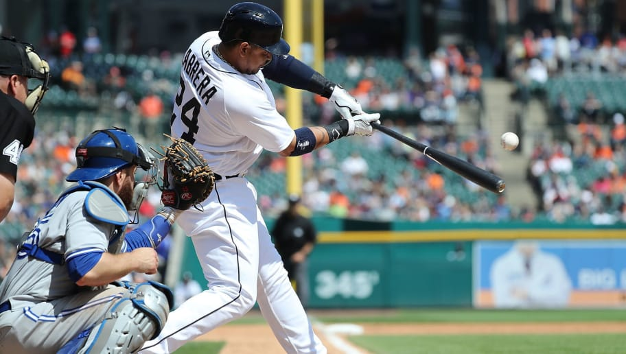 DETROIT, MI - JUNE 3: Miguel Cabrera #24 of the Detroit Tigers singles to right field during the eighth inning of the game against the Toronto Blue Jays at Comerica Park on June 3, 2018 in Detroit, Michigan. (Photo by Leon Halip/Getty Images)