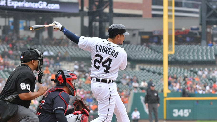 DETROIT, MI - JUNE 10:  Miguel Cabrera #24 of the Detroit Tigers bats during the game against the Cleveland Indians at Comerica Park on June 10, 2018 in Detroit, Michigan. The Indians defeated the Tigers 9-2.  (Photo by Mark Cunningham/MLB Photos via Getty Images)