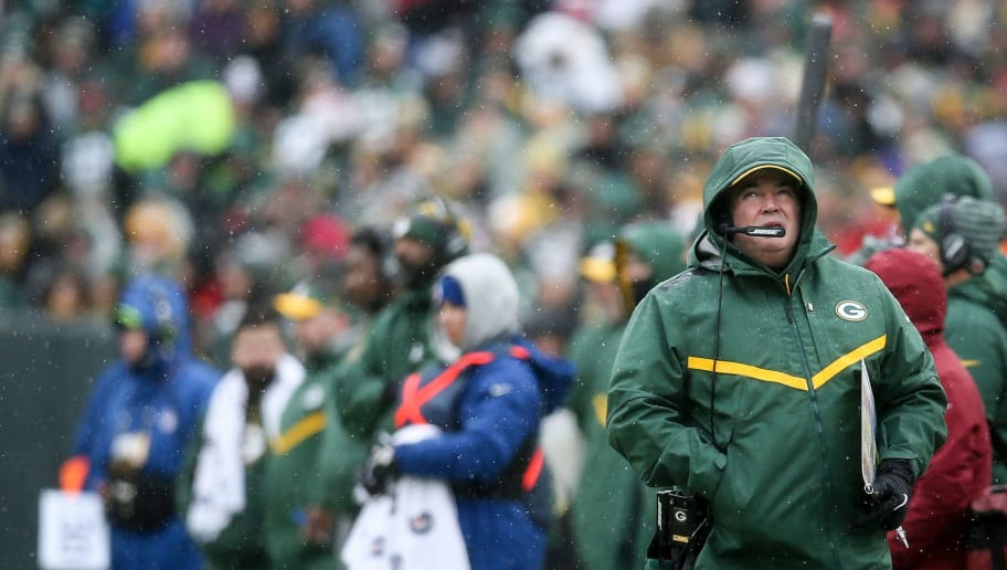 GREEN BAY, WISCONSIN - DECEMBER 02:  Head coach Mike McCarthy of the Green Bay Packers looks on from the sideline in the first quarter against the Arizona Cardinals at Lambeau Field on December 02, 2018 in Green Bay, Wisconsin. (Photo by Dylan Buell/Getty Images)