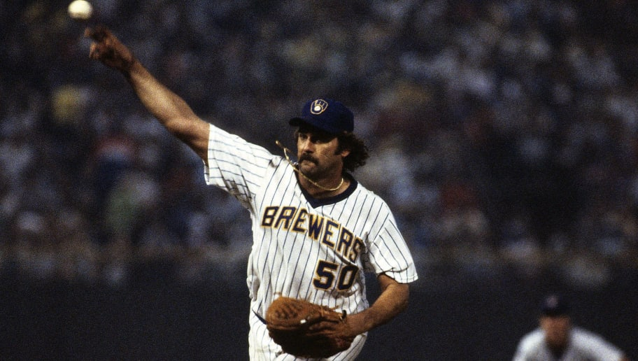 MILWAUKEE, WI - JULY 1982:   Pete Vuckovich #50 of the Milwaukee Brewers pitching during a MLB game in July 1982 in Milwaukee, Wisconsin.  (Photo by Ronald C. Modra/Sports Imagery/ Getty Images)