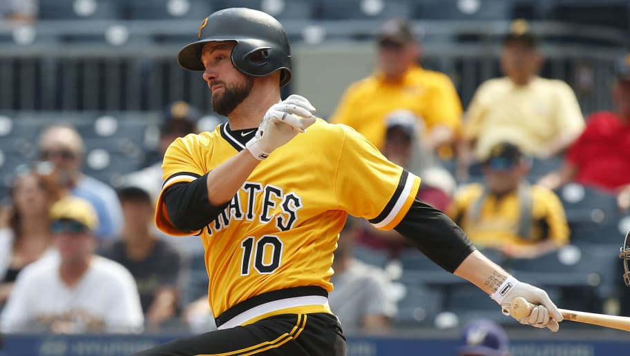 PITTSBURGH, PA - JULY 15:  Jordy Mercer #10 of the Pittsburgh Pirates in action at PNC Park on July 15, 2018 in Pittsburgh, Pennsylvania.  (Photo by Justin K. Aller/Getty Images)