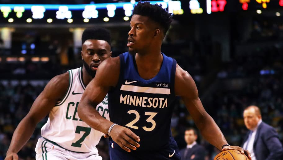 BOSTON, MA - JANUARY 4: Jaylen Brown #7 of the Boston Celtics defends Jimmy Butler #23 of the Minnesota Timberwolves during the first quarter at TD Garden on January 5, 2018 in Boston, Massachusetts. (Photo by Maddie Meyer/Getty Images)