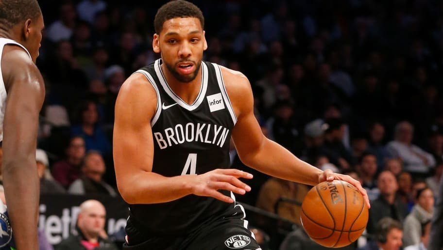 BROOKLYN, NY - JANUARY 03:  (NEW YORK DAILIES OUT)    Jahlil Okafor #4 of the Brooklyn Nets in action against the Minnesota Timberwolves at Barclays Center on January 3, 2018 in the Brooklyn borough of New York City.  The Nets defeated the Timberwolves 98-97. NOTE TO USER: User expressly acknowledges and agrees that, by downloading and/or using this photograph, user is consenting to the terms and conditions of the Getty Images License Agreement.  (Photo by Jim McIsaac/Getty Images)