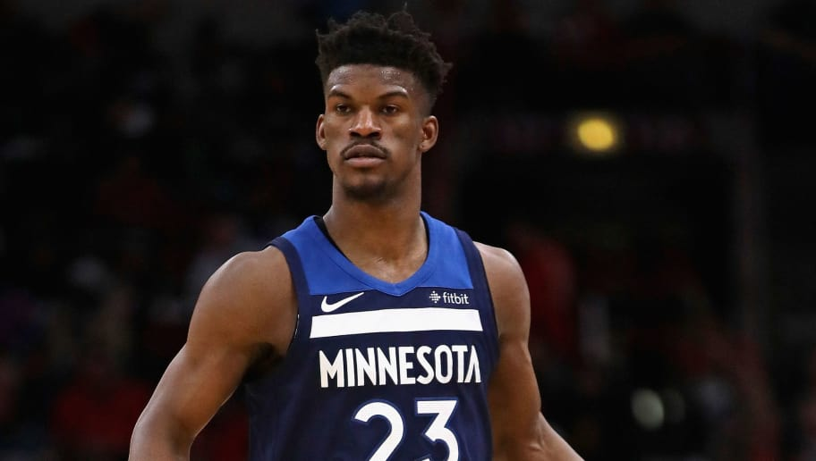 CHICAGO, IL - FEBRUARY 09:  Jimmy Butler #23 of the Minnesota Timberwolves brings the ball up the court against the Chicago Bulls at the United Center on February 9, 2018 in Chicago, Illinois. The Bulls defeated the Timberwolves 114-113. NOTE TO USER: User expressly acknowledges and agrees that, by downloading and or using this photograph, User is consenting to the terms and conditions of the Getty Images License Agreement.  (Photo by Jonathan Daniel/Getty Images)