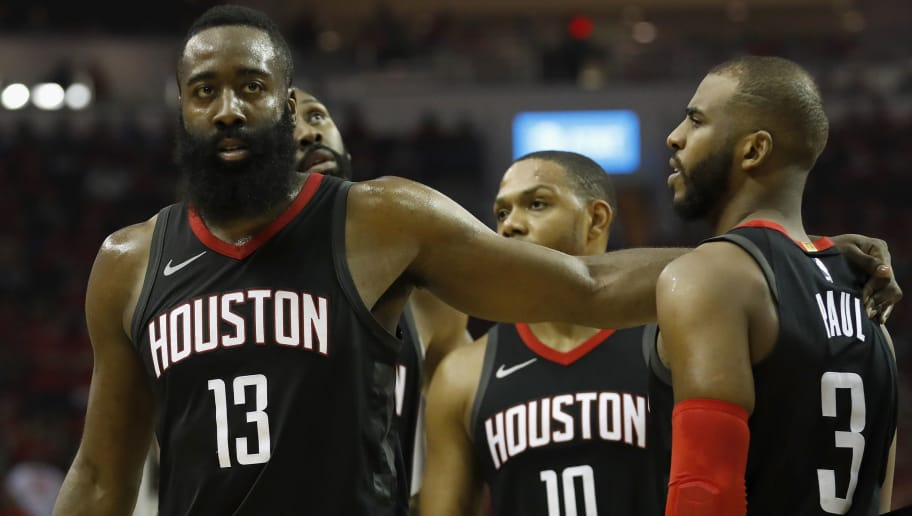 HOUSTON, TX - APRIL 25:  James Harden #13 of the Houston Rockets talks with Chris Paul #3 in the second half during Game Five of the first round of the 2018 NBA Playoffs against the Minnesota Timberwolves at Toyota Center on April 25, 2018 in Houston, Texas.  NOTE TO USER: User expressly acknowledges and agrees that, by downloading and or using this photograph, User is consenting to the terms and conditions of the Getty Images License Agreement.  (Photo by Tim Warner/Getty Images)
