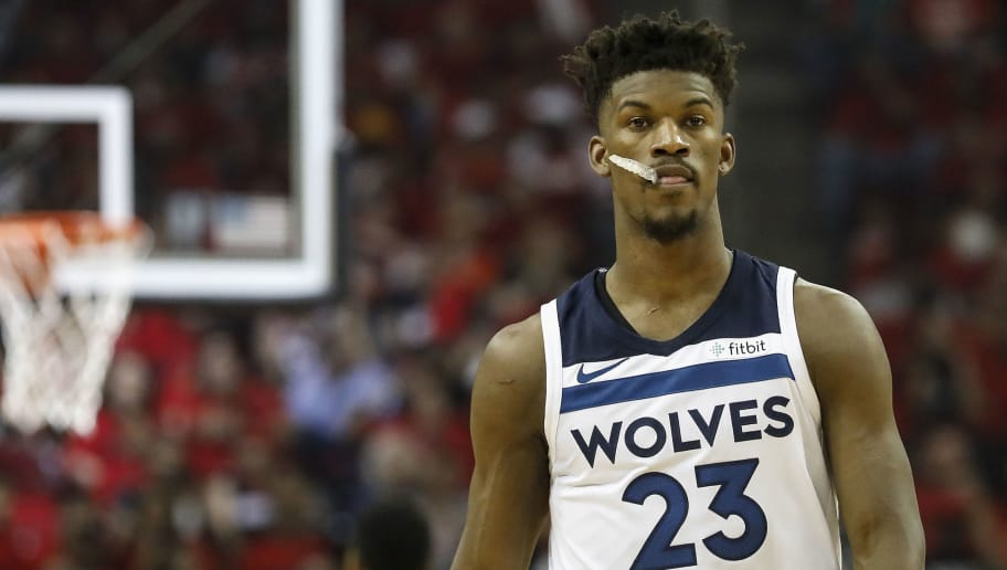 HOUSTON, TX - APRIL 25:  Jimmy Butler #23 of the Minnesota Timberwolves reacts in the first half during Game Five of the first round of the 2018 NBA Playoffs against the Houston Rockets at Toyota Center on April 25, 2018 in Houston, Texas.  NOTE TO USER: User expressly acknowledges and agrees that, by downloading and or using this photograph, User is consenting to the terms and conditions of the Getty Images License Agreement.  (Photo by Tim Warner/Getty Images)