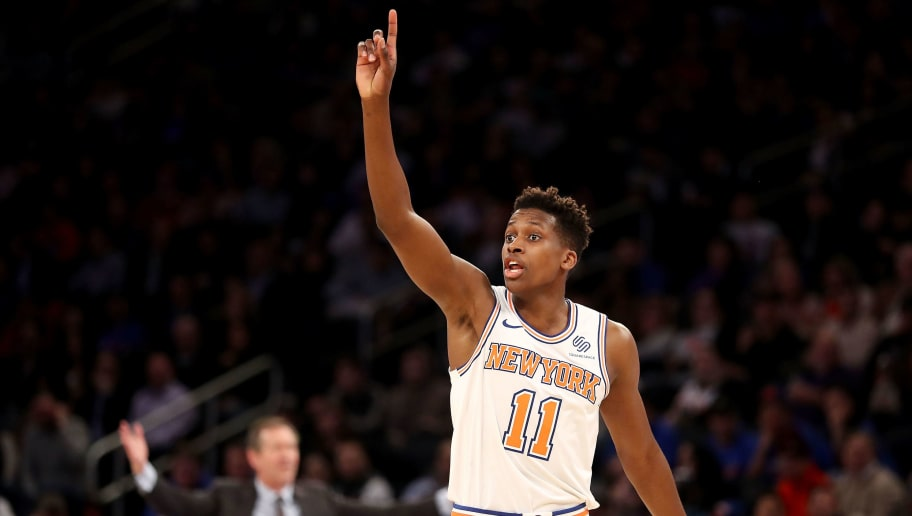 NEW YORK, NY - MARCH 23: Frank Ntilikina #11 of the New York Knicks reacts to a call in the third quarter against the Minnesota Timberwolves during their game at Madison Square Garden on March 23, 2018 in New York City. NOTE TO USER: User expressly acknowledges and agrees that, by downloading and or using this photograph, User is consenting to the terms and conditions of the Getty Images License Agreement.  (Photo by Abbie Parr/Getty Images)