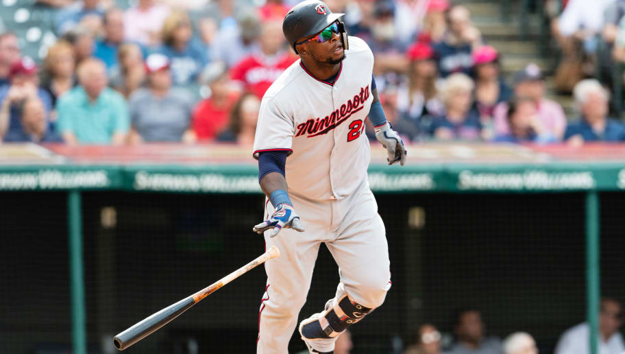 CLEVELAND, OH - AUGUST 30: Miguel Sano #22 of the Minnesota Twins hits a solo home run during the ninth inning against the Cleveland Indians at Progressive Field on August 30, 2018 in Cleveland, Ohio. The Indians defeated the Twins 5-3. (Photo by Jason Miller/Getty Images)