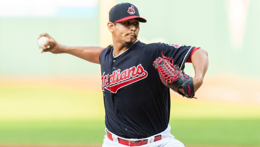 CLEVELAND, OH - AUGUST 28: Starter Carlos Carrasco #59 of the Cleveland Indians pitches during the first inning against the Minnesota Twins at Progressive Field on August 28, 2018 in Cleveland, Ohio. (Photo by Jason Miller/Getty Images)