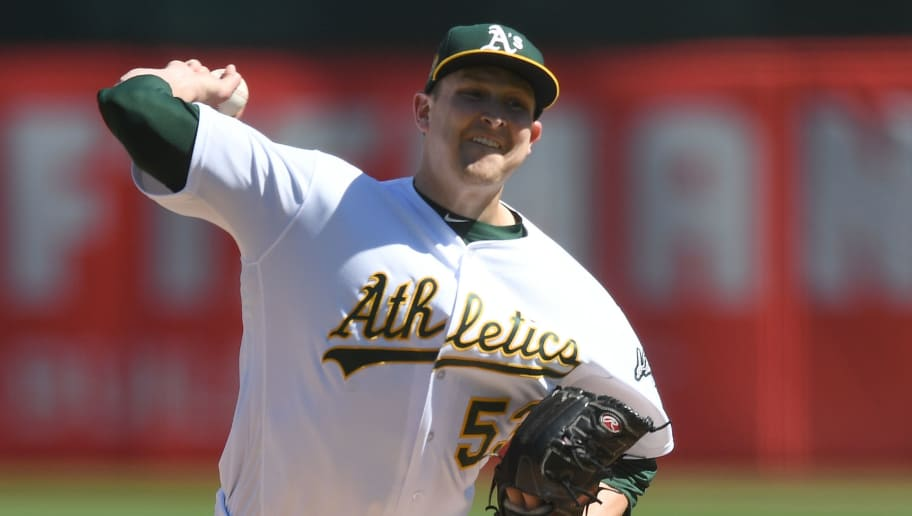 OAKLAND, CA - SEPTEMBER 23:  Trevor Cahill #53 of the Oakland Athletics pitches against the Minnesota Twins in the top of the first inning at Oakland Alameda Coliseum on September 23, 2018 in Oakland, California.  (Photo by Thearon W. Henderson/Getty Images)
