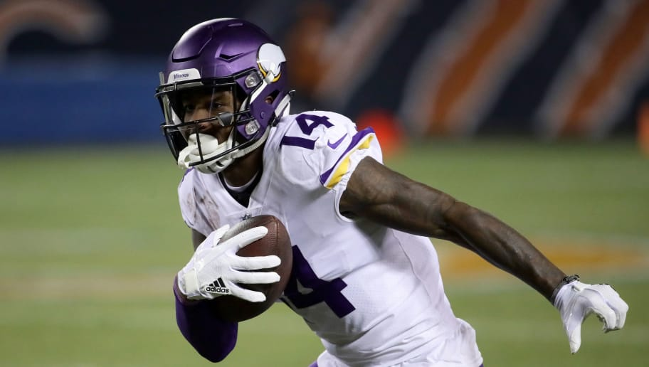 CHICAGO, IL - NOVEMBER 18:  Stefon Diggs #14 of the Minnesota Vikings runs with the football in the third quarter against the Chicago Bears at Soldier Field on November 18, 2018 in Chicago, Illinois.  (Photo by Jonathan Daniel/Getty Images)