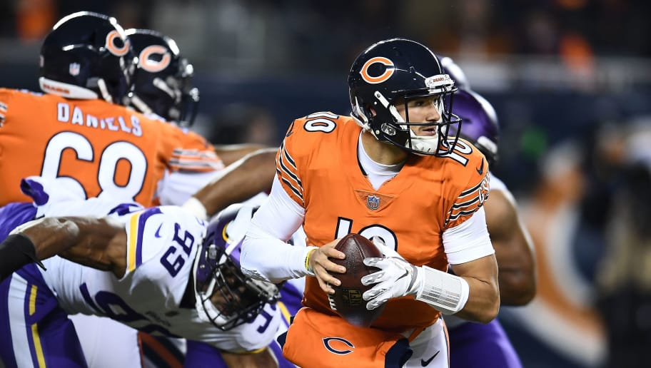 CHICAGO, ILLINOIS - NOVEMBER 18:  Mitchell Trubisky #10 of the Chicago Bears drops back to pass during a game against the Minnesota Vikings at Soldier Field on November 18, 2018 in Chicago, Illinois.  The Bears defeated the Vikings 25-20. (Photo by Stacy Revere/Getty Images)