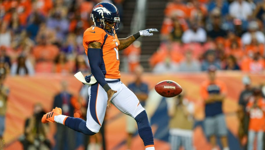 DENVER, CO - AUGUST 11:  Punter Marquette King #1 of the Denver Broncos punts in the second quarter against the Minnesota Vikings during an NFL preseason game at Broncos Stadium at Mile High on August 11, 2018 in Denver, Colorado. (Photo by Dustin Bradford/Getty Images)