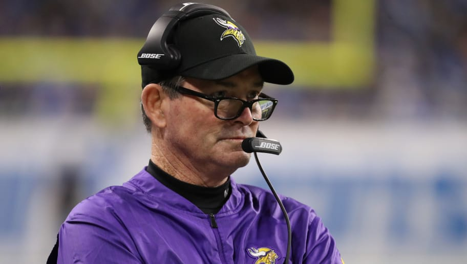 DETROIT, MI - DECEMBER 23: Head coach Mike Zimmer of the Minnesota Vikings looks on in the first quarter against the Detroit Lions at Ford Field on December 23, 2018 in Detroit, Michigan. (Photo by Leon Halip/Getty Images)