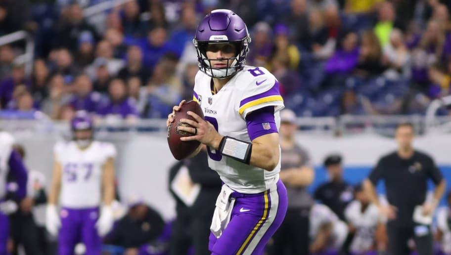 DETROIT, MI - DECEMBER 23: Kirk Cousins #8 of the Minnesota Vikings look to pass in the fourth quarter against the Detroit Lions at Ford Field on December 23, 2018 in Detroit, Michigan. Minnesota Vikings won 27 - 9. (Photo by Gregory Shamus/Getty Images)