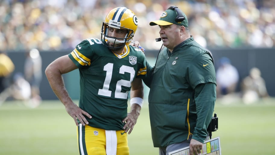 GREEN BAY, WI - SEPTEMBER 16: Head coach Mike McCarthy of the Green Bay Packers talks with Aaron Rodgers #12 during the game against the Minnesota Vikings at Lambeau Field on September 16, 2018 in Green Bay, Wisconsin. The game ended in a 29-29 tie. (Photo by Joe Robbins/Getty Images)