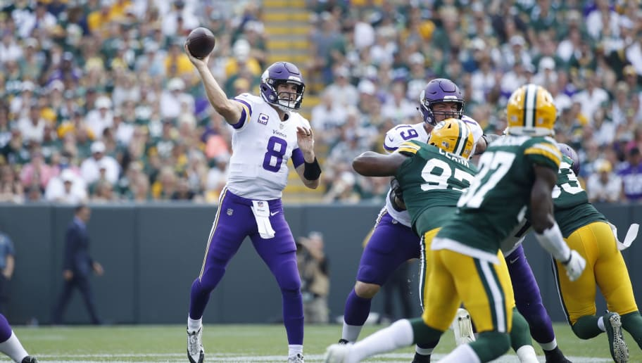 GREEN BAY, WI - SEPTEMBER 16: Kirk Cousins #8 of the Minnesota Vikings throws a pass during the game against the Green Bay Packers at Lambeau Field on September 16, 2018 in Green Bay, Wisconsin. The game ended in a 29-29 tie. (Photo by Joe Robbins/Getty Images)