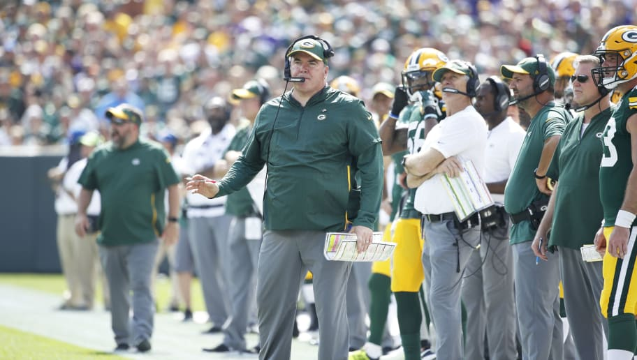 GREEN BAY, WI - SEPTEMBER 16: Head coach Mike McCarthy of the Green Bay Packers looks on during the game against the Minnesota Vikings at Lambeau Field on September 16, 2018 in Green Bay, Wisconsin. The game ended in a 29-29 tie. (Photo by Joe Robbins/Getty Images)