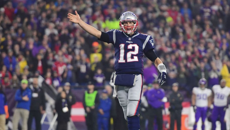 FOXBOROUGH, MA - DECEMBER 02:  Tom Brady #12 of the New England Patriots reacts during the first half against the Minnesota Vikings at Gillette Stadium on December 2, 2018 in Foxborough, Massachusetts.  (Photo by Adam Glanzman/Getty Images)