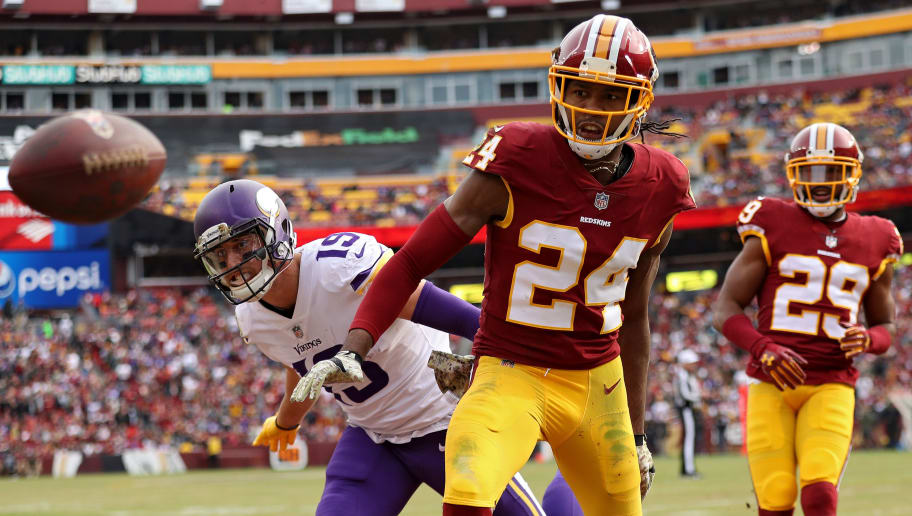 LANDOVER, MD - NOVEMBER 12: Cornerback Josh Norman #24 of the Washington Redskins breaks up a pass intended for wide receiver Adam Thielen #19 of the Minnesota Vikings during the second half at FedExField on November 12, 2017 in Landover, Maryland. (Photo by Patrick Smith/Getty Images)