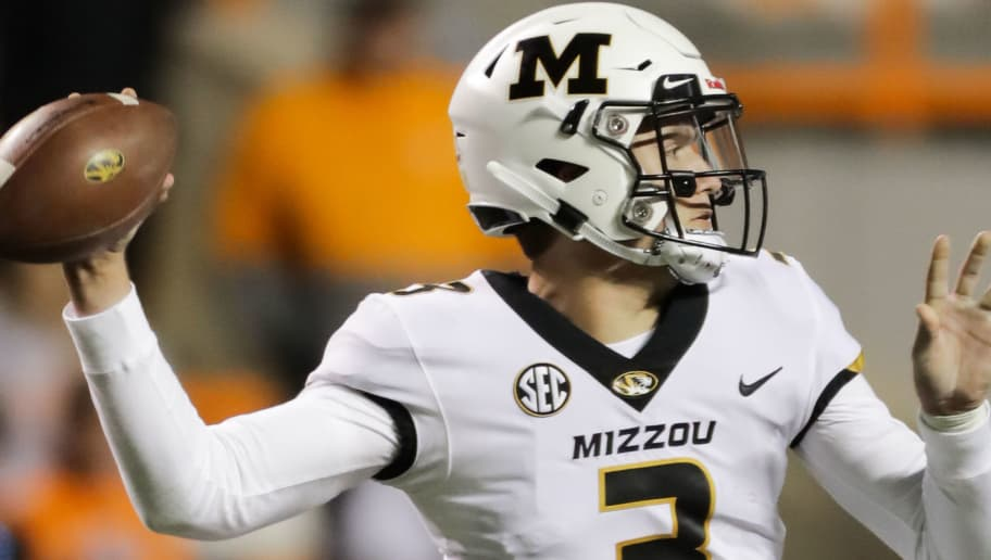 KNOXVILLE, TN - NOVEMBER 17: Drew Lock #3 of the Missouri Tigers throws the ball during the second half of the game between the Missouri Tigers and the Tennessee Volunteers at Neyland Stadium on November 17, 2018 in Knoxville, Tennessee. Missouri won the game 50-17. (Photo by Donald Page/Getty Images)