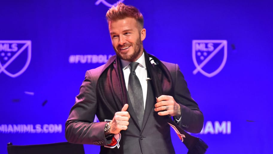 MIAMI, FL - JANUARY 29: David Beckham after being presented with a scarf by Don Garber, MLS Commissioner after officially awarding the City of Miami an MLS franchise at The Knight Concert Hall on January 29, 2018 in Miami, Florida. (Photo by Eric Espada/Getty Images)