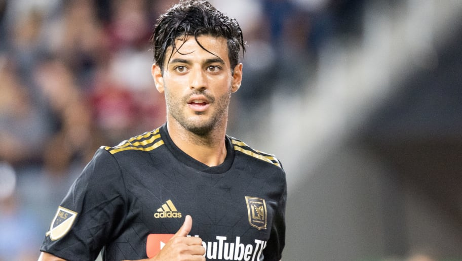 LOS ANGELES, CA - AUGUST 15: Carlos Vela #10 of Los Angeles FC during Los Angeles FC's MLS match against Real Salt Lake at the Banc of California Stadium on August 15, 2018 in Los Angeles, California.  Los Angeles FC won the match 2-0  (Photo by Shaun Clark/Getty Images)