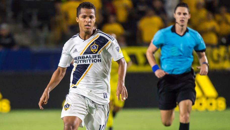 CARSON, CA - JULY 7:   Giovani dos Santos #10 of Los Angeles Galaxy during the Los Angeles Galaxy's MLS match against Columbus Crew at the StubHub Center on July 7, 2018 in Carson, California.  Los Angeles Galaxy won the match 4-0 (Photo by Shaun Clark/Getty Images)