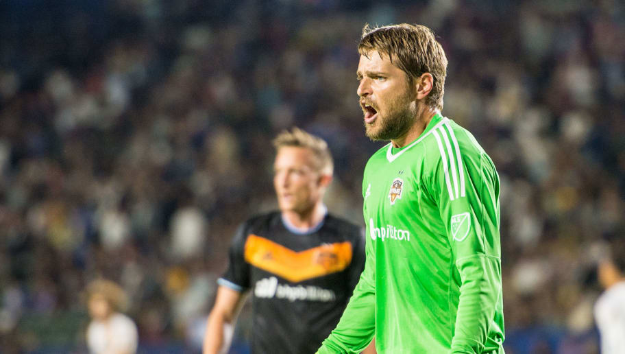 CARSON, CA - JUNE 17: Tyler Deric #1 of Houston Dynamo complains during the Los Angeles Galaxy's MLS match against Houston Dynamo at the StubHub Center on June 17, 2017 in Carson, California.  The match ended in a 2-2 draw. (Photo by Shaun Clark/Getty Images)