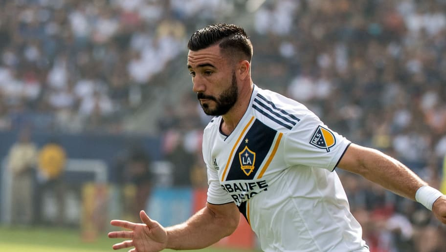 CARSON, CA - OCTOBER 28: Romain Alessandrini #7 of Los Angeles Galaxy during the Los Angeles Galaxy's MLS match against Houston Dynamo at the StubHub Center on October 28, 2018 in Carson, California.  The Houston Dynamo won the match 3-2 (Photo by Shaun Clark/Getty Images)