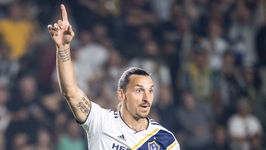 CARSON, CA - AUGUST 24:  Zlatan Ibrahimovic #9 of Los Angeles Galaxy asks for a VAR review during the Los Angeles Galaxy's MLS match against Los Angeles FC at the StubHub Center on August 24, 2018 in Carson, California.  The match ended in a 1-1 tie.  (Photo by Shaun Clark/Getty Images)