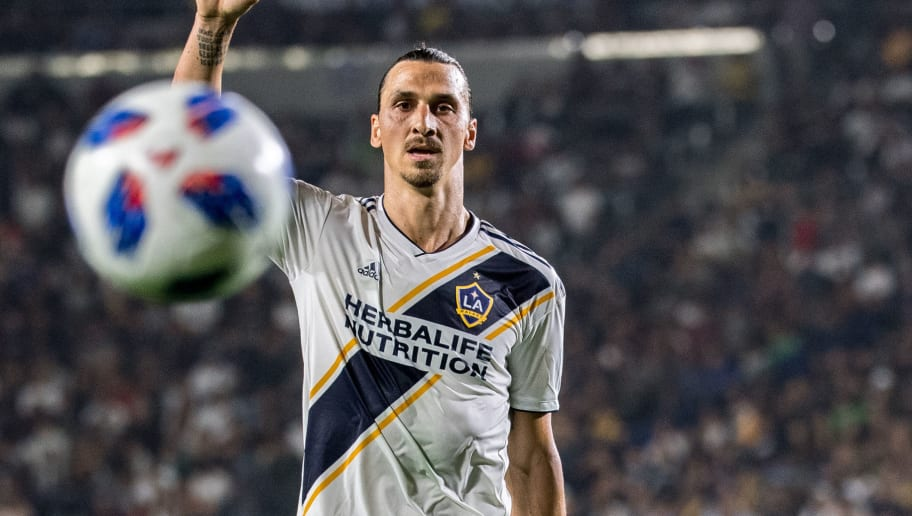 CARSON, CA - AUGUST 24:  Zlatan Ibrahimovic #9 of Los Angeles Galaxy during the Los Angeles Galaxy's MLS match against Los Angeles FC at the StubHub Center on August 24, 2018 in Carson, California.  The match ended in a 1-1 tie.  (Photo by Shaun Clark/Getty Images)