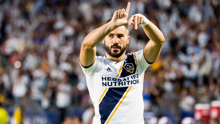 CARSON, CA - AUGUST 11:   Romain Alessandrini #7 of Los Angeles Galaxy celebrates his goal during the Los Angeles Galaxy's MLS match against Minnesota United at the StubHub Center on August 11, 2018 in Carson, California.  The match ended in a 2-2 tie. (Photo by Shaun Clark/Getty Images)
