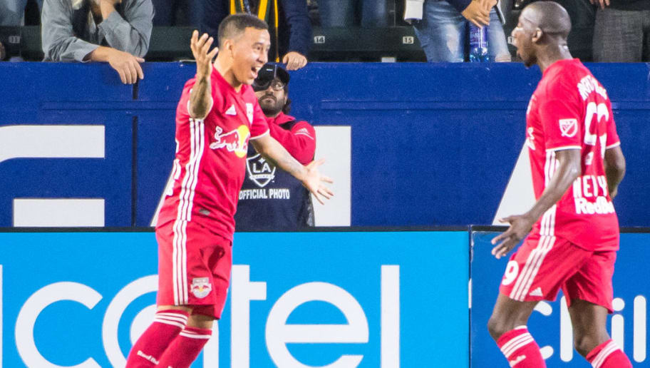 CARSON, CA - APRIL 28:  Alejandro Romero Gamarra #10 of New York Red Bulls celebrates his goal during the Los Angeles Galaxy's MLS match against New York Red Bulls at the StubHub Center on April 28, 2018 in Carson, California.  Red Bulls won the match 3-2  (Photo by Shaun Clark/Getty Images)