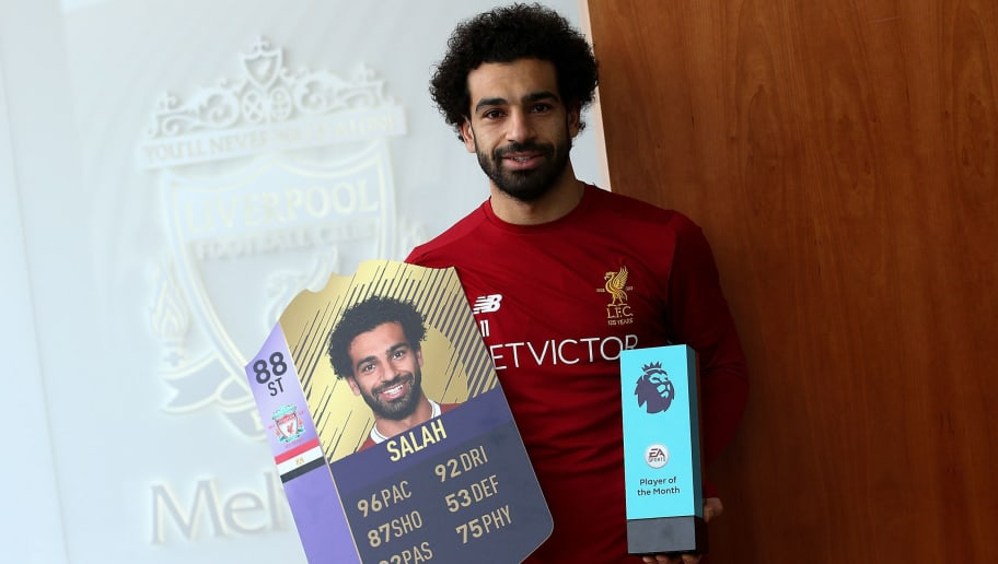 LIVERPOOL, ENGLAND - DECEMBER 14:  Mohamed Salah is Awarded the EA SPORTS Player of the Month for November at Melwood Training Ground on December 14, 2017 in Liverpool, England.  (Photo by Jan Kruger/Getty Images for Premier League)