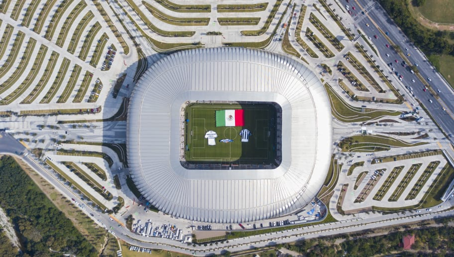MONTERREY, MEXICO - DECEMBER 10: Aerial view of the BBVA Bancomer Stadium prior the second leg of the Torneo Apertura 2017 Liga MX final between Monterrey and Tigres UANL at BBVA Bancomer Stadium on December 10, 2017 in Monterrey, Mexico.  (Photo by Hector Vivas/Getty Images)