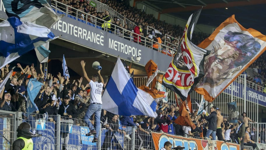 MONTPELLIER, FRANCE - NOVEMBER 04:  A general view of fans during the Ligue 1 match between Montpellier and Marseille at Stade de la Mosson on November 4, 2018 in Montpellier, France.  (Photo by Olympique de Marseille/Getty Images)