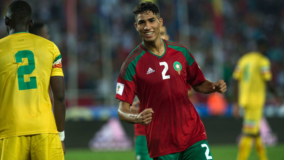 Morocco's Hakimi Achraf (red) celebrates his goal during the match Morocco VS Mali for the qualification of the Fifa world cup Russia 2018 on September 1, 2017 in the stadium 'Prince Moulay Abdellah' in Rabat. / AFP PHOTO / FADEL SENNA        (Photo credit should read FADEL SENNA/AFP/Getty Images)