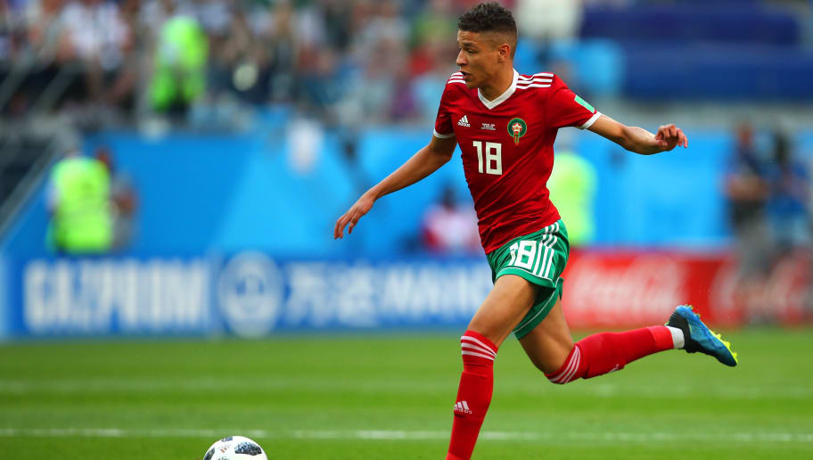 SAINT PETERSBURG, RUSSIA - JUNE 15: Amine Harit of Morocco  in action during the 2018 FIFA World Cup Russia group B match between Morocco and Iran at Saint Petersburg Stadium on June 15, 2018 in Saint Petersburg, Russia. (Photo by Robbie Jay Barratt - AMA/Getty Images)