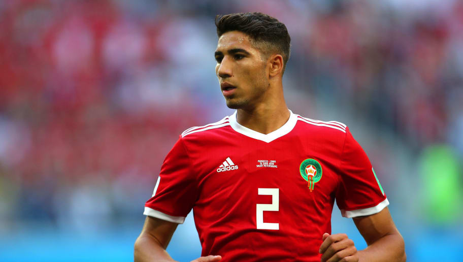 SAINT PETERSBURG, RUSSIA - JUNE 15:  Achraf Hakimi of Morocco looks on during the 2018 FIFA World Cup Russia group B match between Morocco and Iran at Saint Petersburg Stadium on June 15, 2018 in Saint Petersburg, Russia. (Photo by Robbie Jay Barratt - AMA/Getty Images)