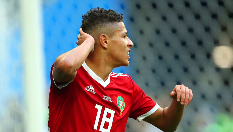 SAINT PETERSBURG, RUSSIA - JUNE 15:  Amine Harit of Morocco reacts during the 2018 FIFA World Cup Russia group B match between Morocco and Iran at Saint Petersburg Stadium on June 15, 2018 in Saint Petersburg, Russia. (Photo by Robbie Jay Barratt - AMA/Getty Images)