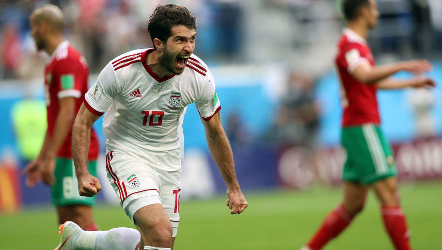 SAINT PETERSBURG, RUSSIA - JUNE 15:  Karim Ansarifard celebrates Iran's goal during the 2018 FIFA World Cup Russia group B match between Morocco and Iran at Saint Petersburg Stadium on June 15, 2018 in Saint Petersburg, Russia.  (Photo by Amin Mohammad Jamali/Getty Images)